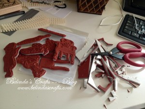 Cutting up my new rubber stamps.