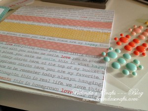 I love this paper because it has some words written in color and it gave me a fun color palette.