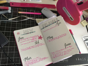 Pages in book bullet journal.